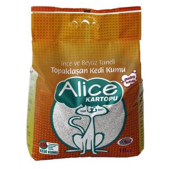 Alice Kartopu İnce ve Beyaz Taneli Kedi Kumu 10Kg