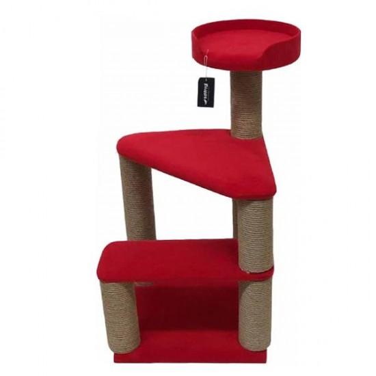 Bedspet 2 Basamaklı Kedi Tırmalama Platformu Kırmızı