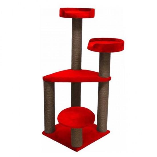 Bedspet 3 Oturaklı Kedi Tırmalama Platformu Kırmızı