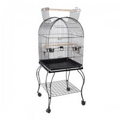 Sehpalı Papağan Kafesi Bird Life H01 Dövme Demir Siyah 51x51x127 Cm