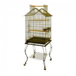 Sehpalı Papağan Kafesi Bird Life H03-G Pirinç 51x51x127 Cm