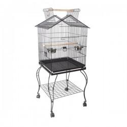 Sehpalı Papağan Kafesi Bird Life H03 Dövme Demir Siyah 51x51x127 Cm