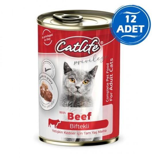 Catlife Biftekli Yetişkin Kedi Konservesi 400gr 12 Adet