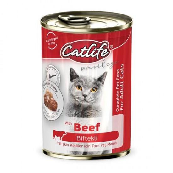 Catlife Biftekli Yetişkin Kedi Konservesi 400gr