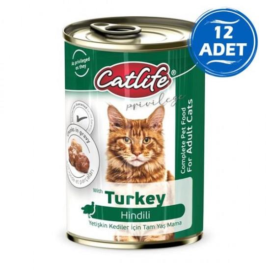 Catlife Hindili Yetişkin Kedi Konservesi 400gr 12 Adet