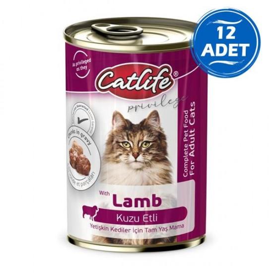 Catlife Kuzu Etli Yetişkin Kedi Konservesi 400gr 12 Adet