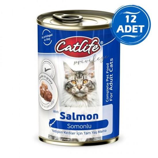 Catlife Somonlu Yetişkin Kedi Konservesi 400gr 12 Adet