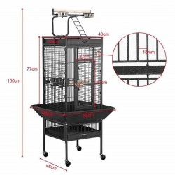 Dayang A10 Ayaklı Papağan Eğitim Kafesi 46x46x156cm Siyah