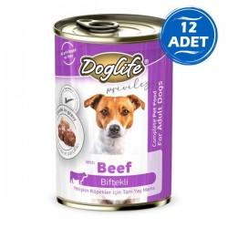 Doglife Biftekli Yetişkin Köpek Konservesi 400gr 12 Adet