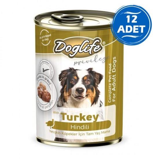Doglife Hindili Yetişkin Köpek Konservesi 400gr 12 Adet