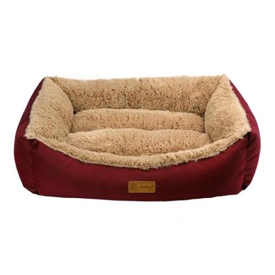 Dubex Jellybean Peluşlu Kedi Köpek Yatağı Bordo Camel L