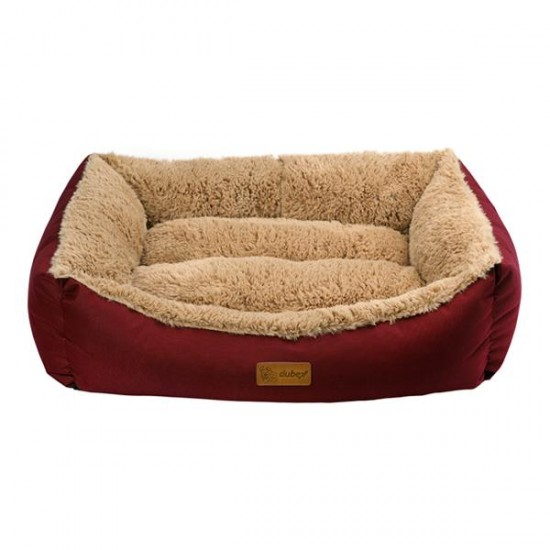 Dubex Jellybean Peluşlu Kedi Köpek Yatağı Bordo Camel XL