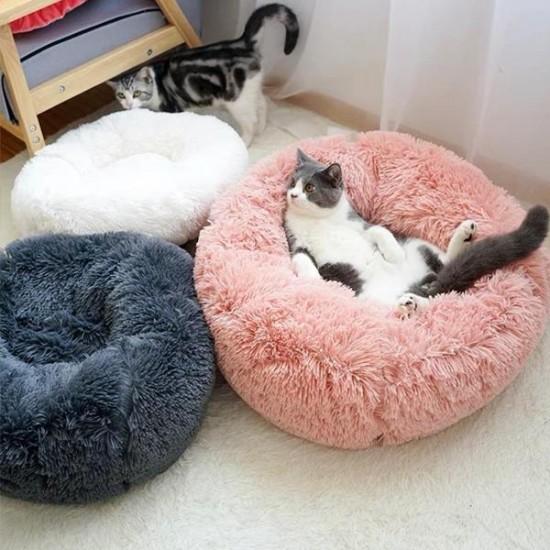 Dubex Ponchik Yuvarlak Kedi Köpek Yatağı Pembe S