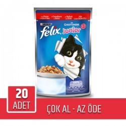 Felix Junior Pouch Sığır Etli Yaş Kedi Maması 100gr x 20 Adet