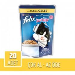 Felix Junior Pouch Tavuklu Yaş Kedi Maması 100gr x 20 Adet