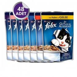 Felix Pouch Yaş Kedi Maması Karışık Paket 48 Adet