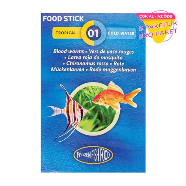 Frozen Bloodworms Food Stick Kan Kurdu Dondurulmuş STICK Yem 5 li Paket Balık