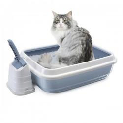 Imac Duo Açık Kedi Tuvaleti Kum Küreği Hediyeli Beyaz Mavi