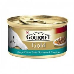 Purina Gourmet Gold Parça Etli Soslu Somon ve Tavuklu 85gr