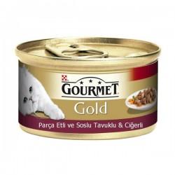Purina Gourmet Gold Parça Etli Soslu Tavuk ve Ciğerli 85gr
