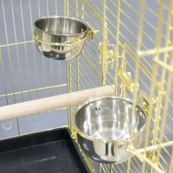 QH Sehpalı Papağan Kafesi Gold 51x51x152cm