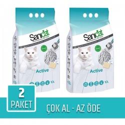 Sanicat Active Topaklaşan Kedi Kumu 10Lt x 2 Paket
