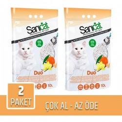 Sanicat Duo Vanilya ve Mandalina Aromalı Kedi Kumu 10lt x 2 Paket