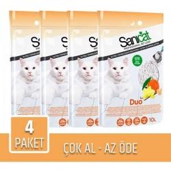 Sanicat Duo Vanilya ve Mandalina Aromalı Kedi Kumu 10lt x 4 Paket