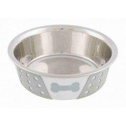 Trixie Köpek Mama Su Kabı, Paslanmaz Çelik/Silikon, 0,4lt/ø 14 cm, Beyaz/Gri