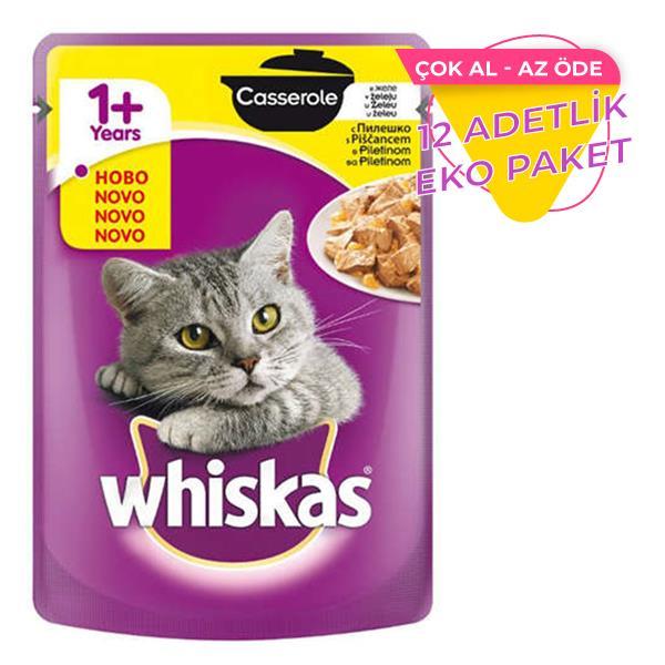 Whiskas Pouch Güveç Tavuklu Yetişkin Kedi Konservesi 85 gr x 12 Adet